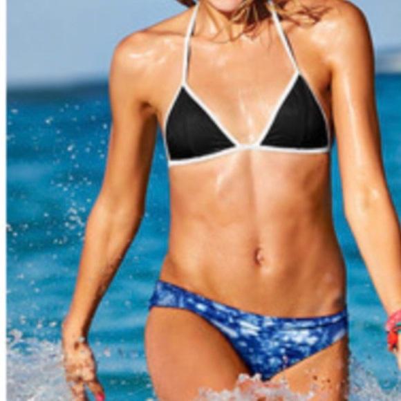 ef03eab0cd7c8 Black triangle swim top Victoria secret PINK